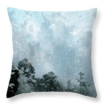 Throw Pillow featuring the digital art Snowfall by Gina Harrison