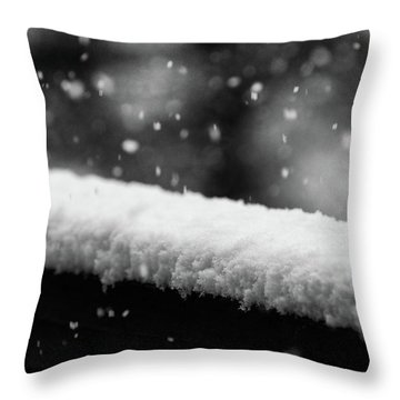 Snowfall On The Handrail Throw Pillow