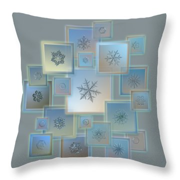 Throw Pillow featuring the photograph Snowflake Collage - Bright Crystals 2012-2014 by Alexey Kljatov