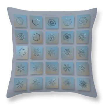 Throw Pillow featuring the photograph Snowflake Collage - Season 2013 Bright Crystals by Alexey Kljatov