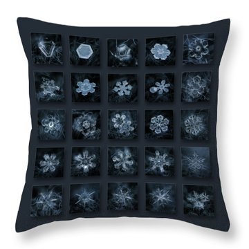 Throw Pillow featuring the photograph Snowflake Collage - Season 2013 Dark Crystals by Alexey Kljatov