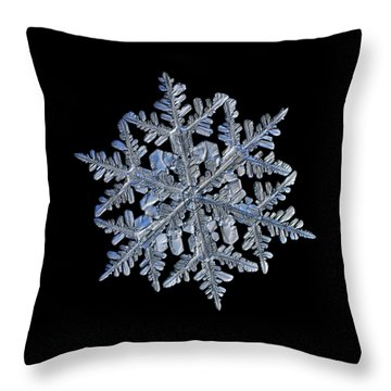 Snowflake Macro Photo - 13 February 2017 - 3 Black Throw Pillow