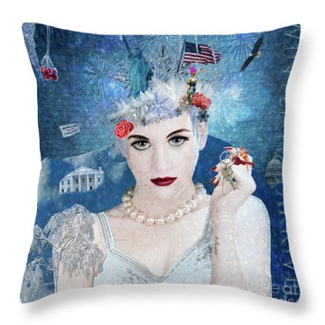 Throw Pillow featuring the digital art Snowflake by Nola Lee Kelsey