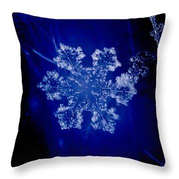 Snowflake On Blue Throw Pillow