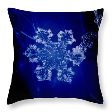 Snowflake On Blue Throw Pillow