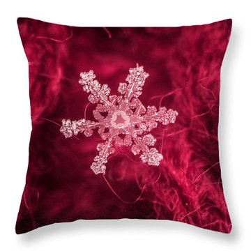 Snowflake On Red Throw Pillow