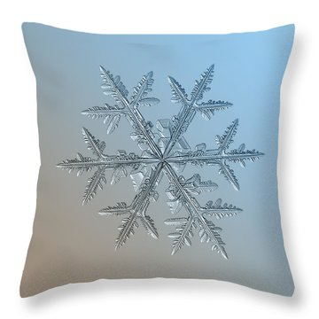 Throw Pillow featuring the photograph Snowflake Photo - Asymmetriad by Alexey Kljatov