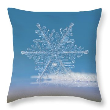 Throw Pillow featuring the photograph Snowflake Photo - Cloud Number Nine by Alexey Kljatov