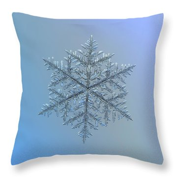 Snowflake Photo - Majestic Crystal Throw Pillow