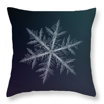 Throw Pillow featuring the photograph Snowflake Photo - Neon by Alexey Kljatov