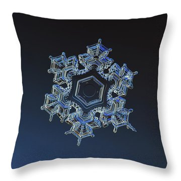 Throw Pillow featuring the photograph Snowflake Photo - Spark by Alexey Kljatov