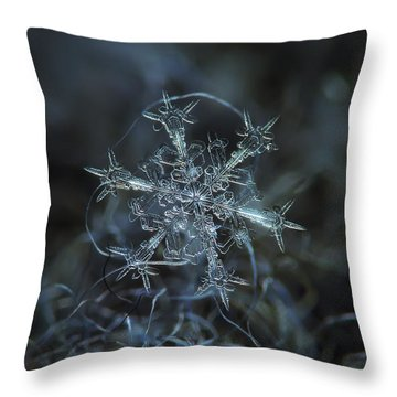 Throw Pillow featuring the photograph Snowflake Photo - Starlight by Alexey Kljatov