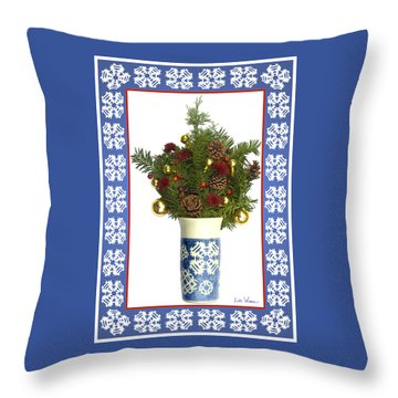 Throw Pillow featuring the digital art Snowflake Vase With Christmas Regalia by Lise Winne