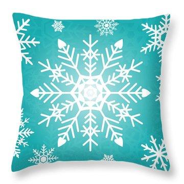 Snowflakes Green And White Throw Pillow