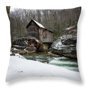 Snowing At Glade Creek Mill Throw Pillow