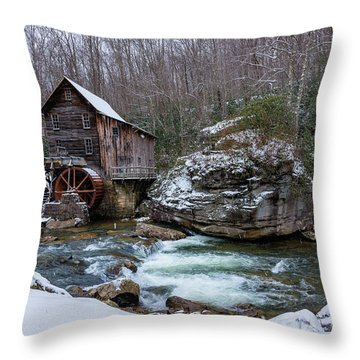 Snowing At The Mill  Throw Pillow