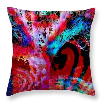 Snowing Baobab Throw Pillow by Fania Simon