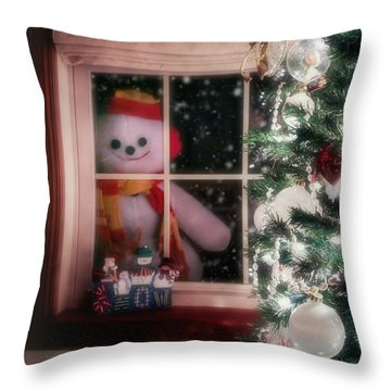 Snowman At The Window Throw Pillow