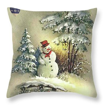 Throw Pillow featuring the digital art Snowman Christmas Card by Greg Sharpe