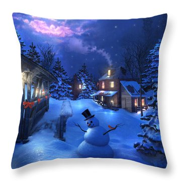 Snowman Crossing Throw Pillow