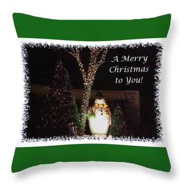 Throw Pillow featuring the photograph Snowman Greetings by Ellen O'Reilly