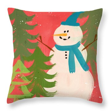 Snowman In Blue Hat- Art By Linda Woods Throw Pillow