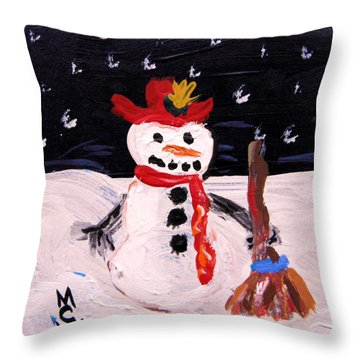 Throw Pillow featuring the painting Snowman Under The Stars by Mary Carol Williams