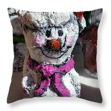 Snowman Pink Throw Pillow