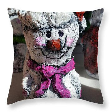 Snowman Pink Throw Pillow by Vickie Scarlett-Fisher
