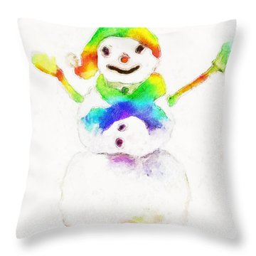 Throw Pillow featuring the painting Snowman With Rainbow 1 by Claire Bull