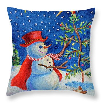 Throw Pillow featuring the painting Snowmas Christmas by Li Newton