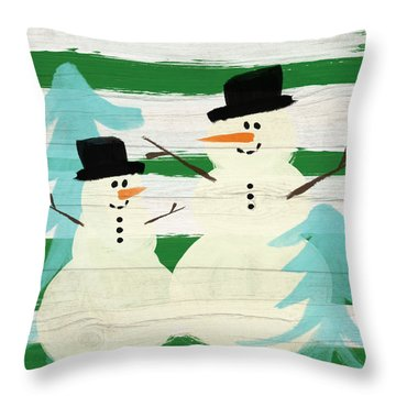 Snowmen With Blue Trees- Art By Linda Woods Throw Pillow by Linda Woods