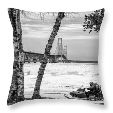 Throw Pillow featuring the photograph Snowmobile Michigan Black And White  by John McGraw