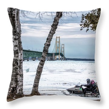 Throw Pillow featuring the photograph Snowmobile Michigan  by John McGraw