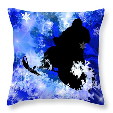 Snowmobiling In The Avalanche  Throw Pillow by Elaine Plesser