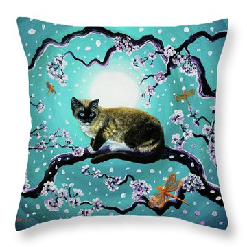 Snowshoe Cat And Dragonfly In Sakura Throw Pillow