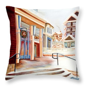 Snowshoe Village Shops Throw Pillow