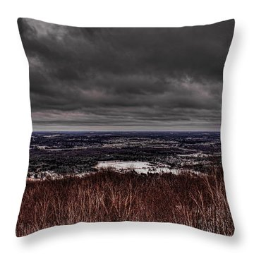 Snowstorm Clouds Over Rib Mountain State Park Throw Pillow