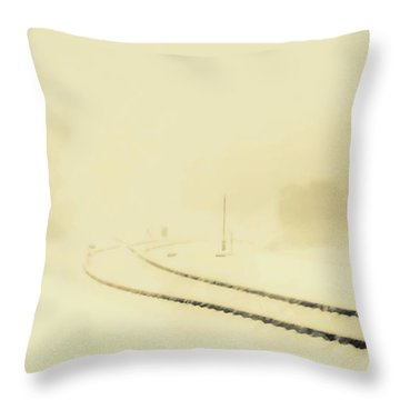 Snowstorm In The Yard S Throw Pillow