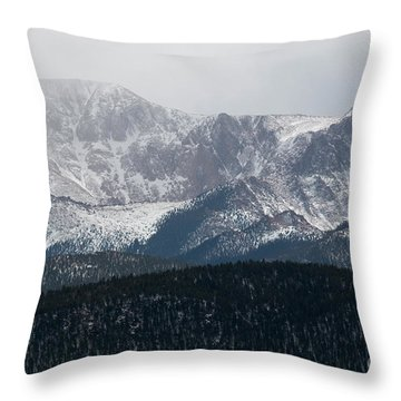 Snowstorm On Pikes Peak Throw Pillow