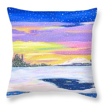 Throw Pillow featuring the painting Snowstorm by Phyllis Kaltenbach
