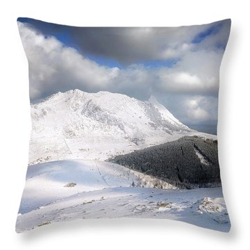 snowy Anboto from Urkiolamendi at winter Throw Pillow