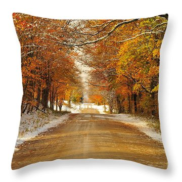 Snowy Autumn Morning In Pure Michigan Throw Pillow