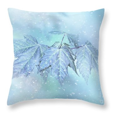 Snowy Baby Leaves Throw Pillow