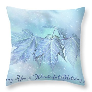 Snowy Baby Leaves Winter Holiday Card Throw Pillow
