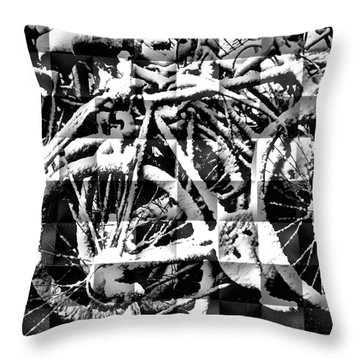 Snowy Bike Throw Pillow