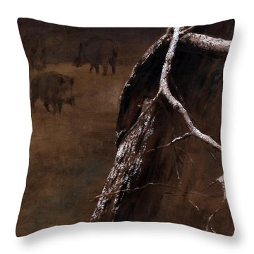 Snowy Branch With Wild Boars Throw Pillow
