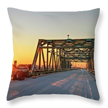Snowy Bridge Throw Pillow