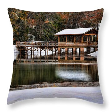 Snowy Bridge Throw Pillow