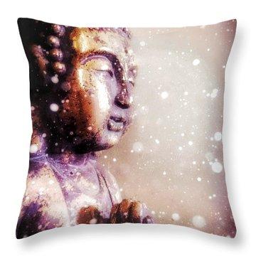 Snowy Buddha Throw Pillow